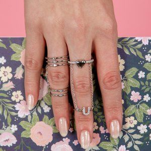 Silver 925 2 Pcs Slave Finger Ring Heart and U